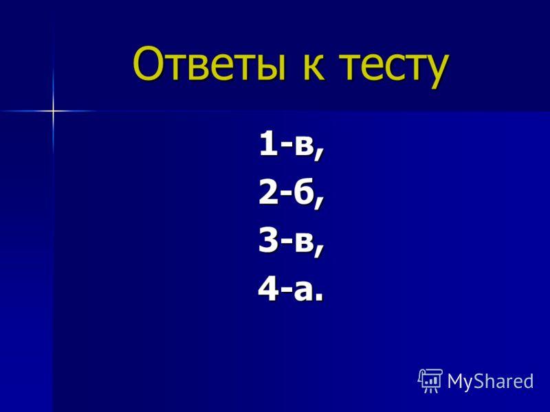 Ответы к тесту 1-в,2-б,3-в,4-а.