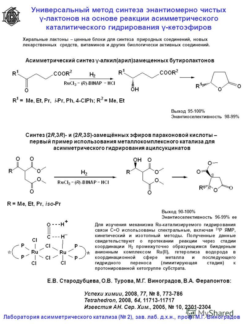 Универсальный метод синтеза энантиомерно чистых γ-лактонов на основе реакции асимметрического каталитического гидрирования γ-кетоэфиров Лаборатория асимметрического катализа ( 2), зав. лаб. д.х.н., проф. М.Г. Виноградов Асимметрический синтез γ-алкил