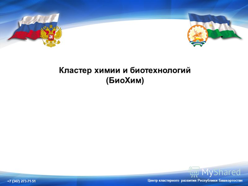 +7 (347) 273-71-51 Центр кластерного развития Республики Башкортостан Кластер химии и биотехнологий (БиоХим)