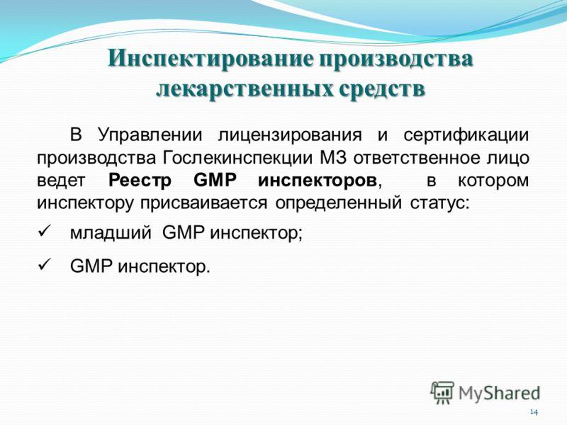 14 Инспектирование производства лекарственных средств В Управлении лицензирования и сертификации производства Гослекинспекции МЗ ответственное лицо ведет Реестр GMP инспекторов, в котором инспектору присваивается определенный статус: младший GMP инсп