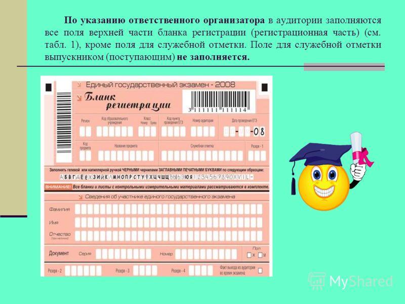 По указанию ответственного организатора в аудитории заполняются все поля верхней части бланка регистрации (регистрационная часть) (см. табл. 1), кроме поля для служебной отметки. Поле для служебной отметки выпускником (поступающим) не заполняется.
