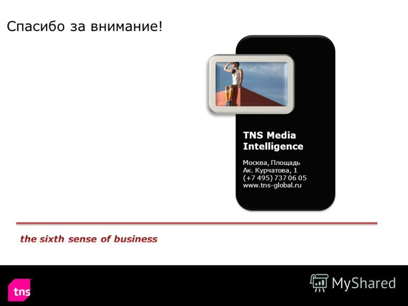 Спасибо за внимание! TNS Media Intelligence Москва, Площадь Ак. Курчатова, 1 (+7 495) 737 06 05 www.tns-global.ru
