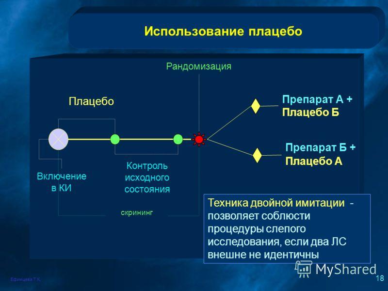 Ефимцева Т.К. 18 Использование плацебо скрининг Включение в КИ Плацебо Контроль исходного состояния Рандомизация Препарат А + Плацебо Б Препарат Б + Плацебо А Техника двойной имитации - позволяет соблюсти процедуры слепого исследования, если два ЛС в