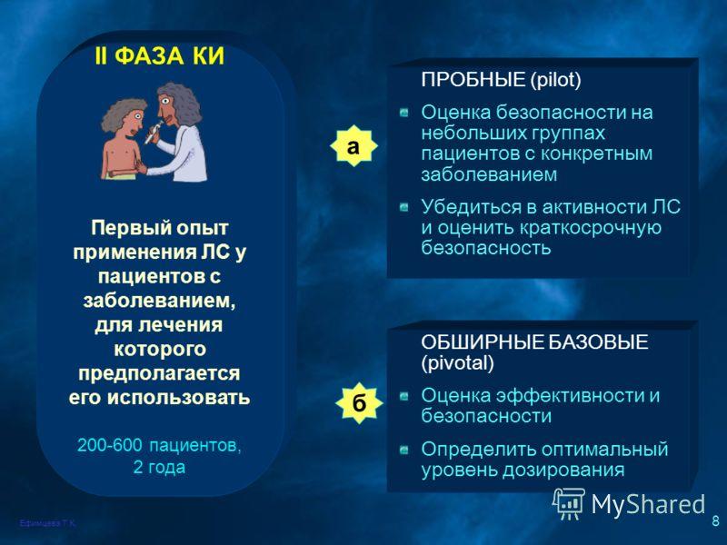Ефимцева Т.К. 8 II ФАЗА КИ Первый опыт применения ЛС у пациентов с заболеванием, для лечения которого предполагается его использовать 200-600 пациентов, 2 года ПРОБНЫЕ (pilot) Оценка безопасности на небольших группах пациентов с конкретным заболевани