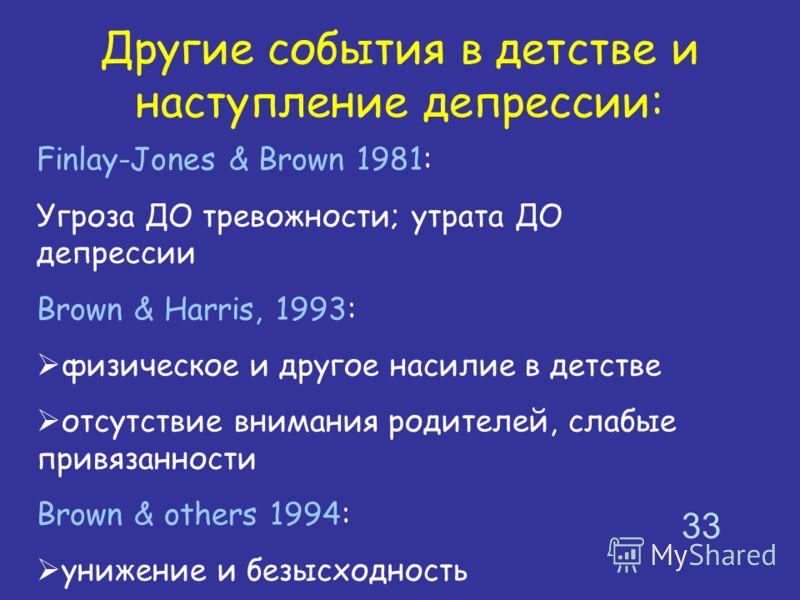 Другие события в детстве и наступление депрессии: Finlay-Jones & Brown 1981: Угроза ДО тревожности; утрата ДО депрессии Brown & Harris, 1993: физическое и другое насилие в детстве отсутствие внимания родителей, слабые привязанности Brown & others 199
