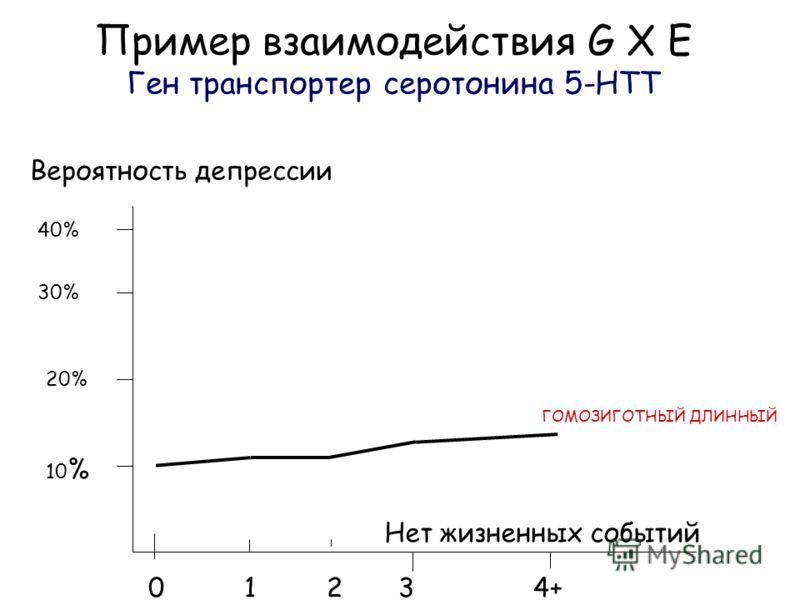 Пример взаимодействия G X E Ген транспортер серотонина 5-HTT Вероятность депрессии Нет жизненных событий 0 1 2 3 4+ 40% 30% 20% 10 % ГОМОЗИГОТНЫЙ ДЛИННЫЙ