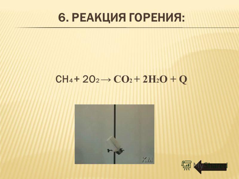 6. РЕАКЦИЯ ГОРЕНИЯ: CH 4 + 2O 2 CO 2 + 2H 2 O + Q