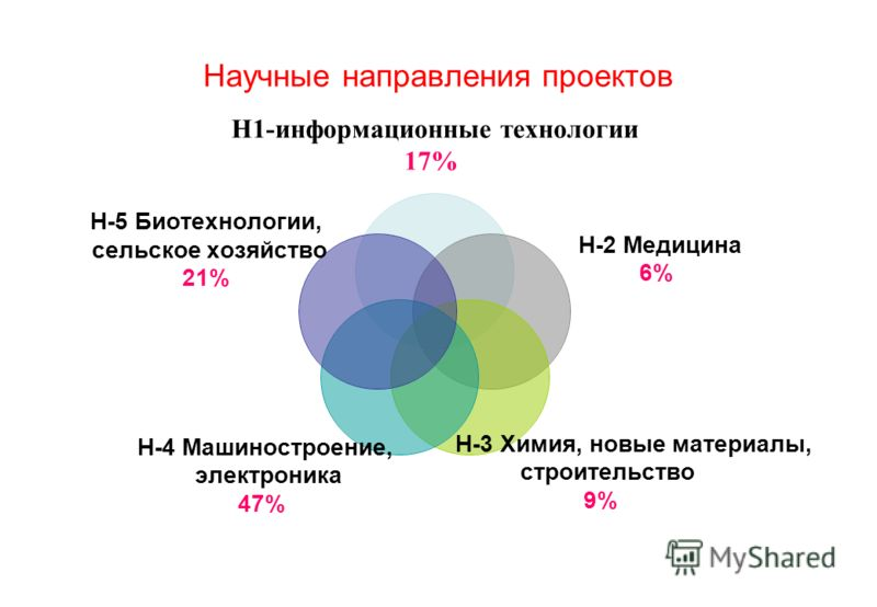 Научные направления проектов Н1-информационные технологии 17% Н-2 Медицина 6% Н-3 Химия, новые материалы, строительство 9% Н-4 Машиностроение, электроника 47% Н-5 Биотехнологии, сельское хозяйство 21%