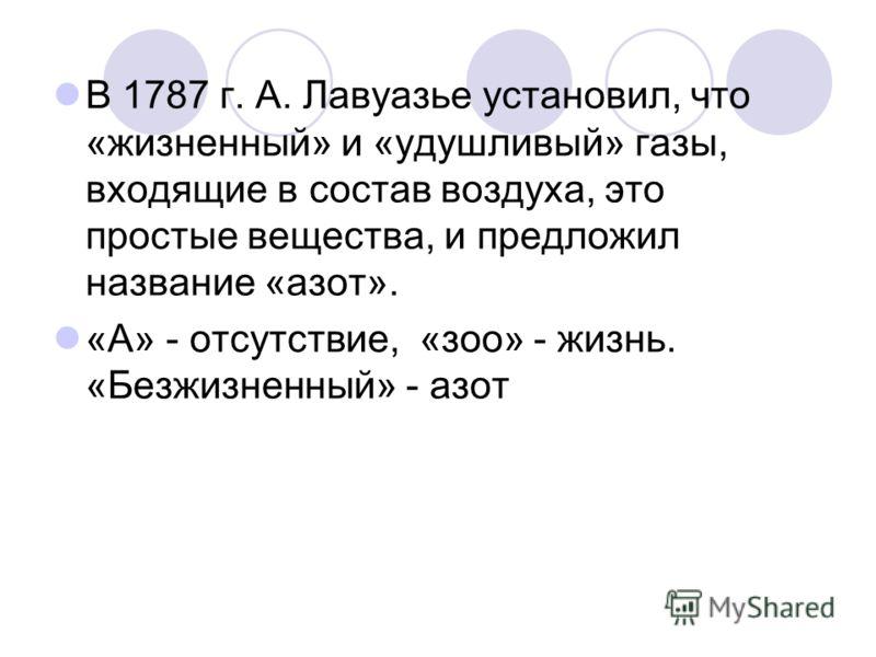 В 1787 г. А. Лавуазье установил, что «жизненный» и «удушливый» газы, входящие в состав воздуха, это простые вещества, и предложил название «азот». «А» - отсутствие, «зоо» - жизнь. «Безжизненный» - азот