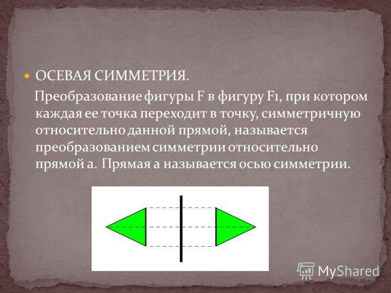 ОСЕВАЯ СИММЕТРИЯ. Преобразование фигуры F в фигуру F1, при котором каждая ее точка переходит в точку, симметричную относительно данной прямой, называется преобразованием симметрии относительно прямой а. Прямая а называется осью симметрии.