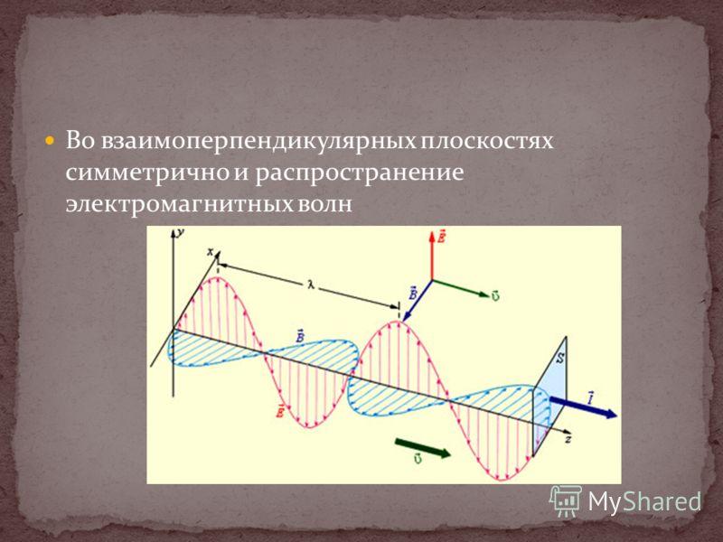 Во взаимоперпендикулярных плоскостях симметрично и распространение электромагнитных волн