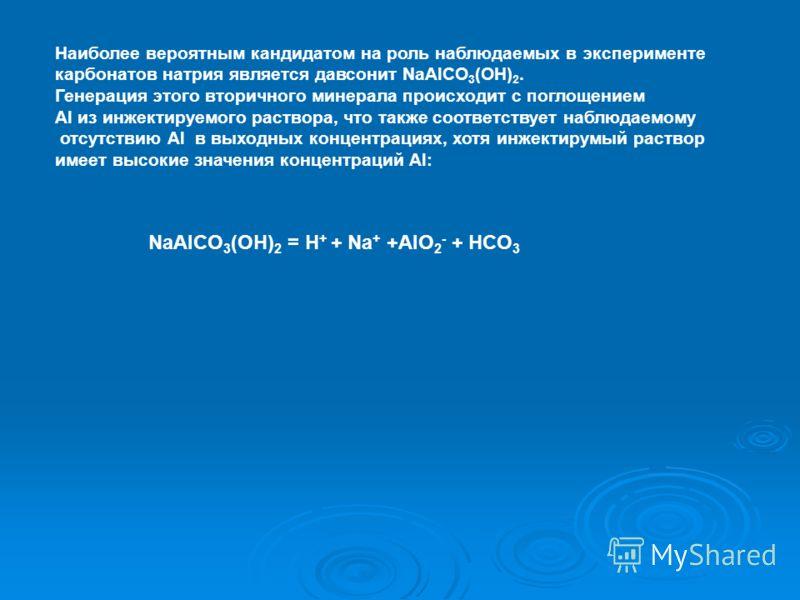 Наиболее вероятным кандидатом на роль наблюдаемых в эксперименте карбонатов натрия является давсонит NaAlCO 3 (OH) 2. Генерация этого вторичного минерала происходит с поглощением Al из инжектируемого раствора, что также соответствует наблюдаемому отс