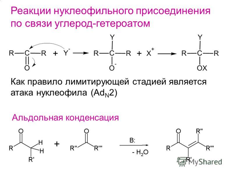 Реакции нуклеофильного присоединения по связи углерод-гетероатом Как правило лимитирующей стадией является атака нуклеофила (Ad N 2) Альдольная конденсация