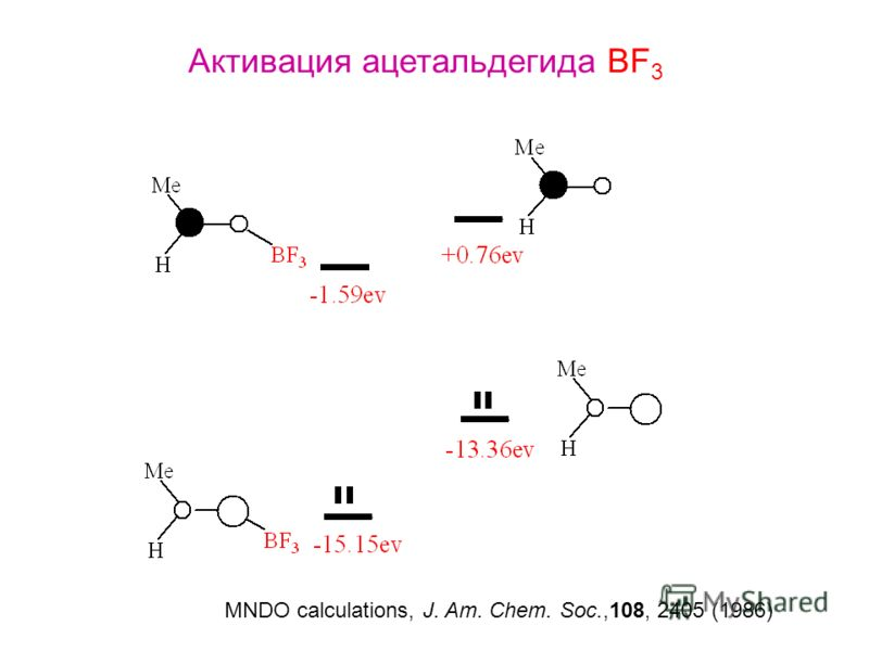 Активация ацетальдегида BF 3 MNDO calculations, J. Am. Chem. Soc.,108, 2405 (1986)