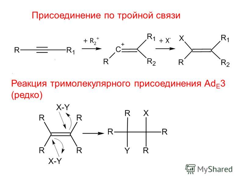 Присоединение по тройной связи Реакция тримолекулярного присоединения Ad E 3 (редко)