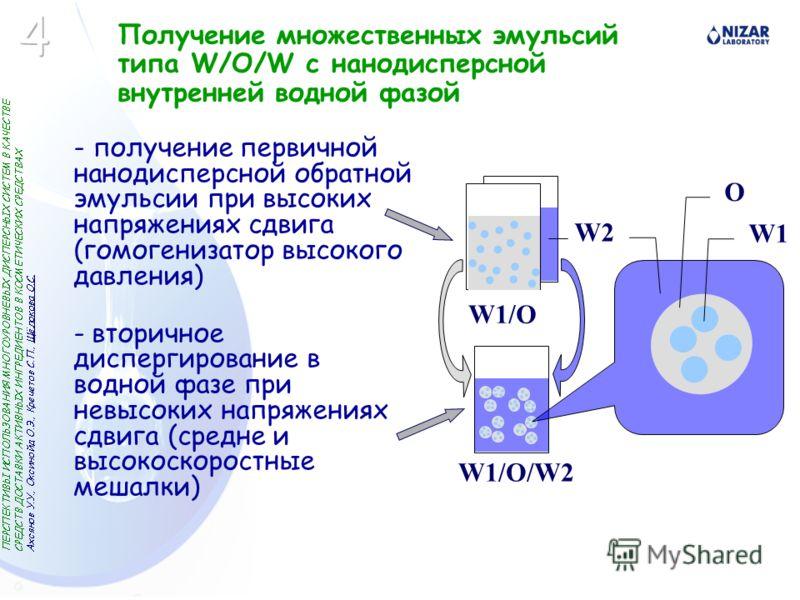 Получение множественных эмульсий типа W/O/W с нанодисперсной внутренней водной фазой - получение первичной нанодисперсной обратной эмульсии при высоких напряжениях сдвига (гомогенизатор высокого давления) - вторичное диспергирование в водной фазе при