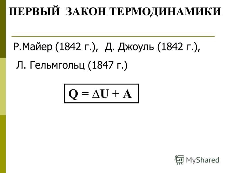 ПЕРВЫЙ ЗАКОН ТЕРМОДИНАМИКИ Р.Майер (1842 г.), Д. Джоуль (1842 г.), Л. Гельмгольц (1847 г.) Q = U + А