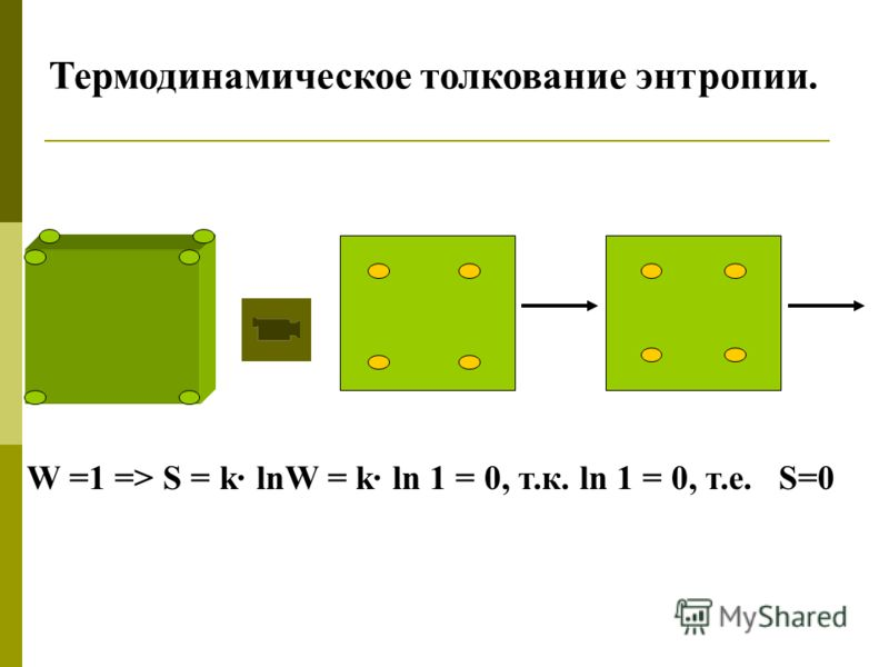 Термодинамическое толкование энтропии. W =1 => S = k· lnW = k· ln 1 = 0, т.к. ln 1 = 0, т.е. S=0