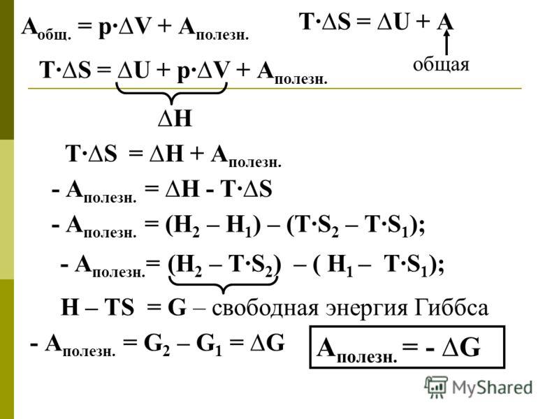 А общ. = р·V + А полезн. T·S = U + А общая T·S = U + р·V + А полезн. H T·S = H + А полезн. - А полезн. = H - T·S - А полезн. = (Н 2 – Н 1 ) – (ТS 2 – ТS 1 ); - А полезн. = (Н 2 – ТS 2 ) – ( Н 1 – ТS 1 ); Н – ТS = G – свободная энергия Гиббса - А поле