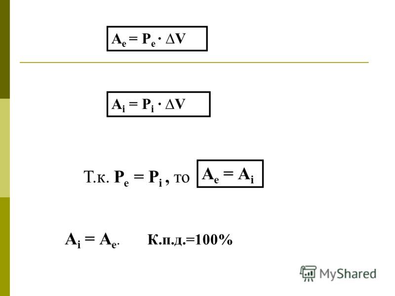 А i = Р i · V Т.к. Р е = Р i, то А е = Р е · V А е = А i А i = А е. К.п.д.=100%