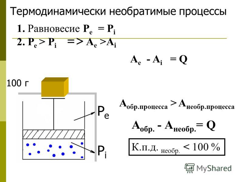 Термодинамически необратимые процессы PePe PiPi 1. Равновесие P e = P i 2. Р е > Р i => A e >A i A e - A i = Q А обр.процесса > А необр.процесса А обр. - А необр. = Q К.п.д. необр. < 100 % 100 г