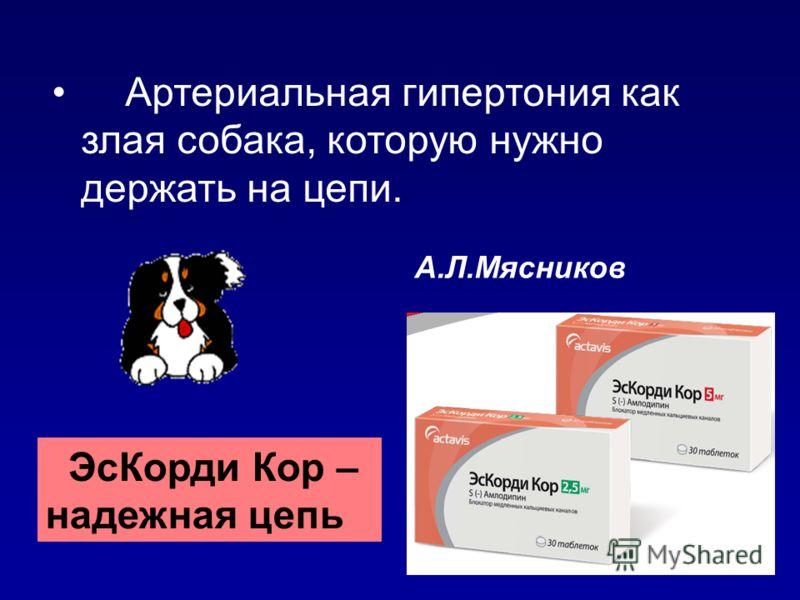 Артериальная гипертония как злая собака, которую нужно держать на цепи. А.Л.Мясников ЭсКорди Кор – надежная цепь
