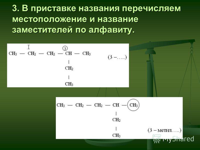 3. В приставке названия перечисляем местоположение и название заместителей по алфавиту.