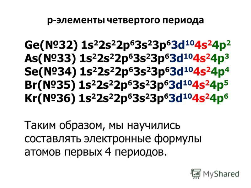 р-элементы четвертого периода Ge(32) 1s 2 2s 2 2p 6 3s 2 3p 6 3d 10 4s 2 4p 2 As(33) 1s 2 2s 2 2p 6 3s 2 3p 6 3d 10 4s 2 4p 3 Se(34) 1s 2 2s 2 2p 6 3s 2 3p 6 3d 10 4s 2 4p 4 Br(35) 1s 2 2s 2 2p 6 3s 2 3p 6 3d 10 4s 2 4p 5 Kr(36) 1s 2 2s 2 2p 6 3s 2 3