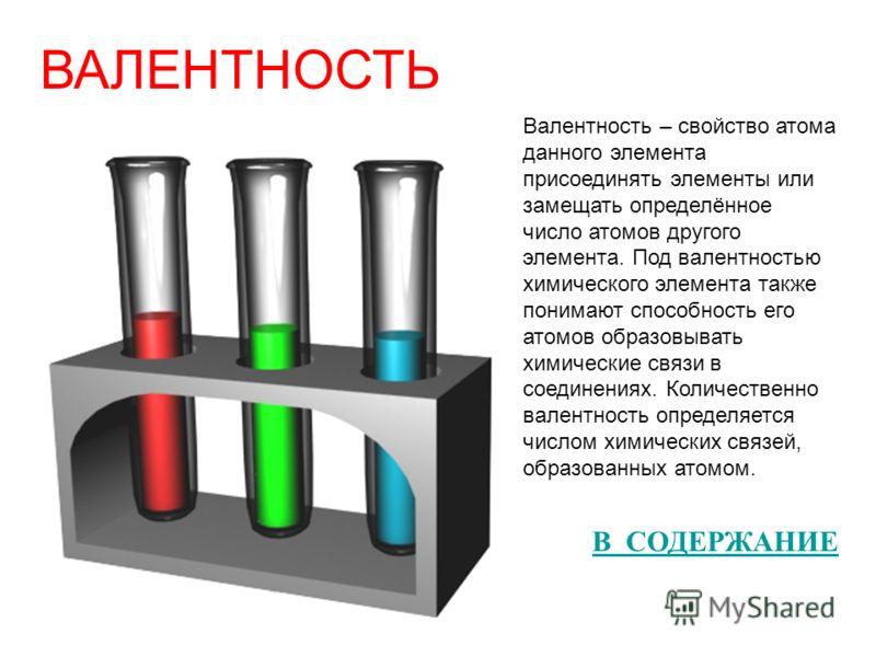 ВАЛЕНТНОСТЬ Валентность – свойство атома данного элемента присоединять элементы или замещать определённое число атомов другого элемента. Под валентностью химического элемента также понимают способность его атомов образовывать химические связи в соеди