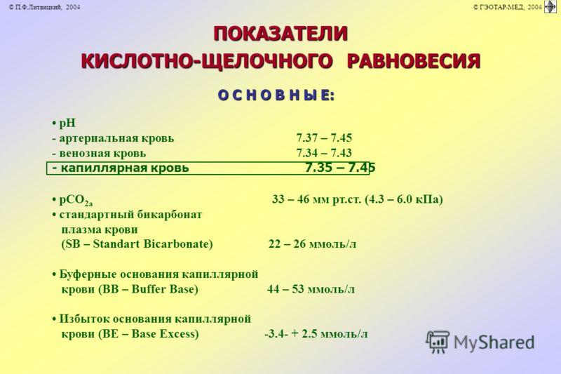 ПОКАЗАТЕЛИ КИСЛОТНО-ЩЕЛОЧНОГО РАВНОВЕСИЯ О С Н О В Н Ы Е: рН - артериальная кровь 7.37 – 7.45 - венозная кровь 7.34 – 7.43 - капиллярная кровь 7.35 – 7.45 рСО 2а 33 – 46 мм рт.ст. (4.3 – 6.0 кПа) стандартный бикарбонат плазма крови (SB – Standart Bic