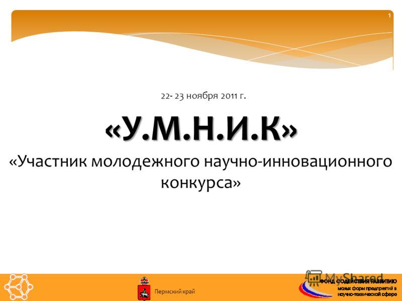 1 «У.М.Н.И.К» «Участник молодежного научно-инновационного конкурса» 22- 23 ноября 2011 г. Пермский край
