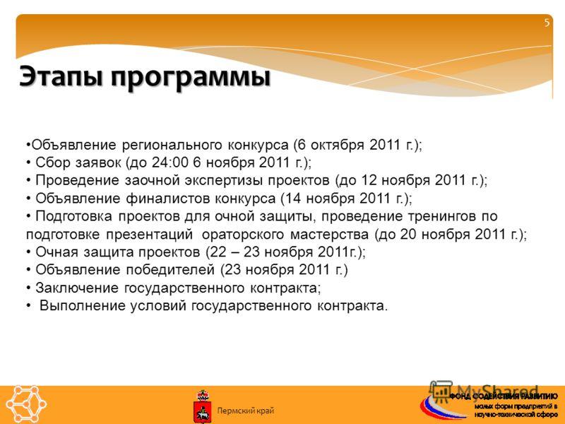 5 Этапы программы Объявление регионального конкурса (6 октября 2011 г.); Сбор заявок (до 24:00 6 ноября 2011 г.); Проведение заочной экспертизы проектов (до 12 ноября 2011 г.); Объявление финалистов конкурса (14 ноября 2011 г.); Подготовка проектов д