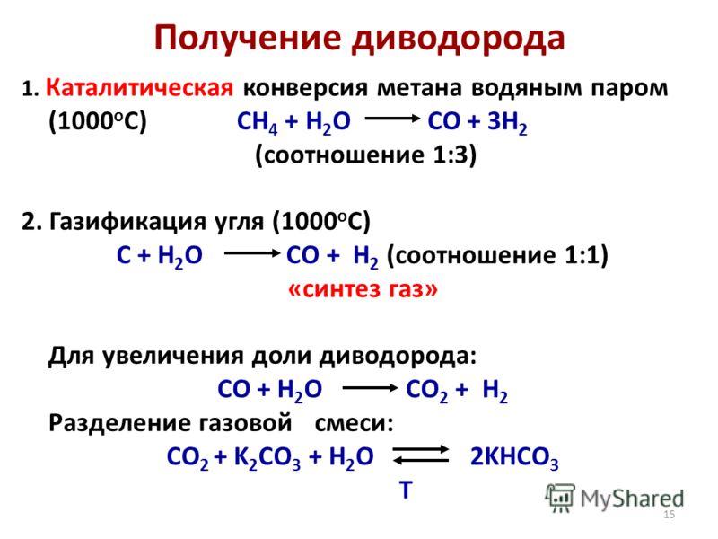 15 Получение диводорода 1. Каталитическая конверсия метана водяным паром (1000 о С)CH 4 + H 2 O CO + 3H 2 (соотношение 1:3) 2. Газификация угля (1000 о С) C + H 2 O CO + H 2 (соотношение 1:1) «синтез газ» Для увеличения доли диводорода: CO + H 2 O CO