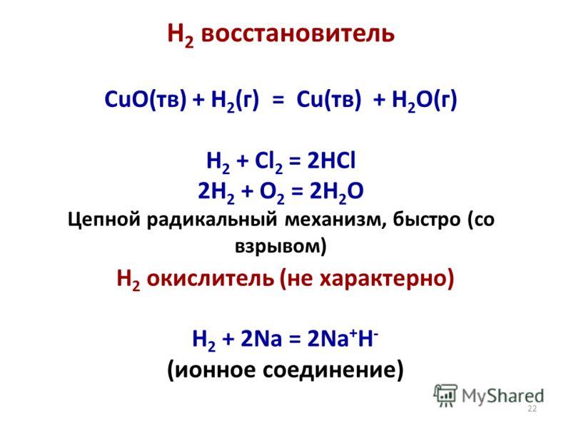 22 Н 2 восстановитель CuO(тв) + H 2 (г) = Cu(тв) + H 2 O(г) H 2 + Cl 2 = 2HCl 2H 2 + O 2 = 2H 2 O Цепной радикальный механизм, быстро (со взрывом) Н 2 окислитель (не характерно) H 2 + 2Na = 2Na + H - (ионное соединение)