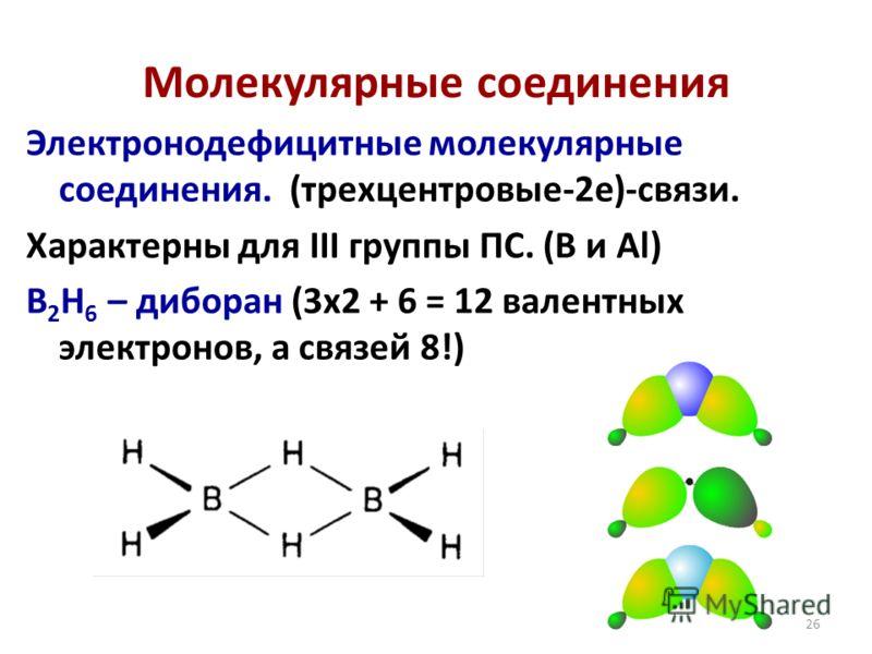26 Электронодефицитные молекулярные соединения. (трехцентровые-2е)-связи. Характерны для III группы ПС. (B и Al) B 2 H 6 – диборан (3х2 + 6 = 12 валентных электронов, а связей 8!) Молекулярные соединения