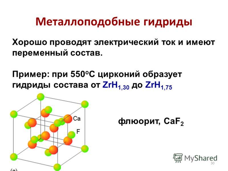 30 Металлоподобные гидриды Хорошо проводят электрический ток и имеют переменный состав. Пример: при 550 о С цирконий образует гидриды состава от ZrH 1,30 до ZrH 1,75 флюорит, CaF 2