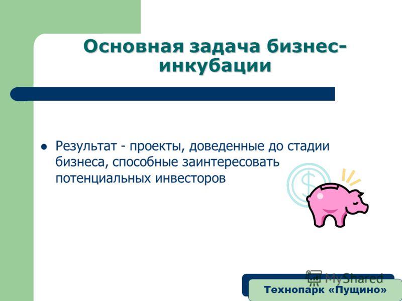 Технопарк «Пущино» Основная задача бизнес- инкубации Результат - проекты, доведенные до стадии бизнеса, способные заинтересовать потенциальных инвесторов