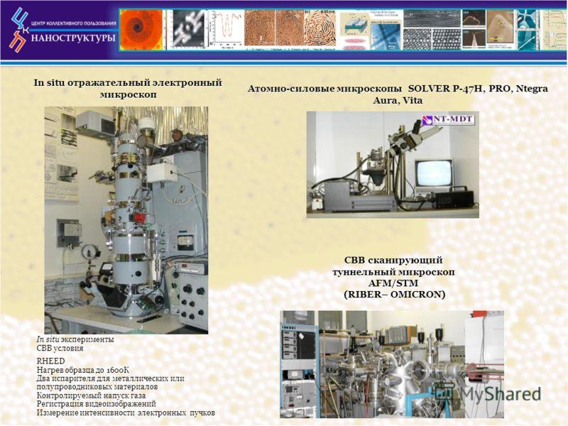 In situ отражательный электронный микроскоп In situ эксперименты СВВ условия RHEED Нагрев образца до 1600К Два испарителя для металлических или полупроводниковых материалов Контролируемый напуск газа Регистрация видеоизображений Измерение интенсивнос