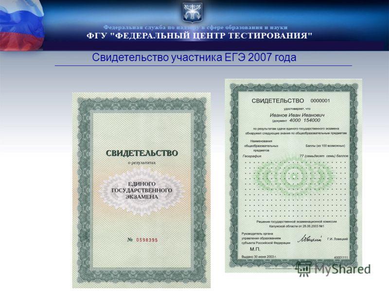 Свидетельство участника ЕГЭ 2007 года
