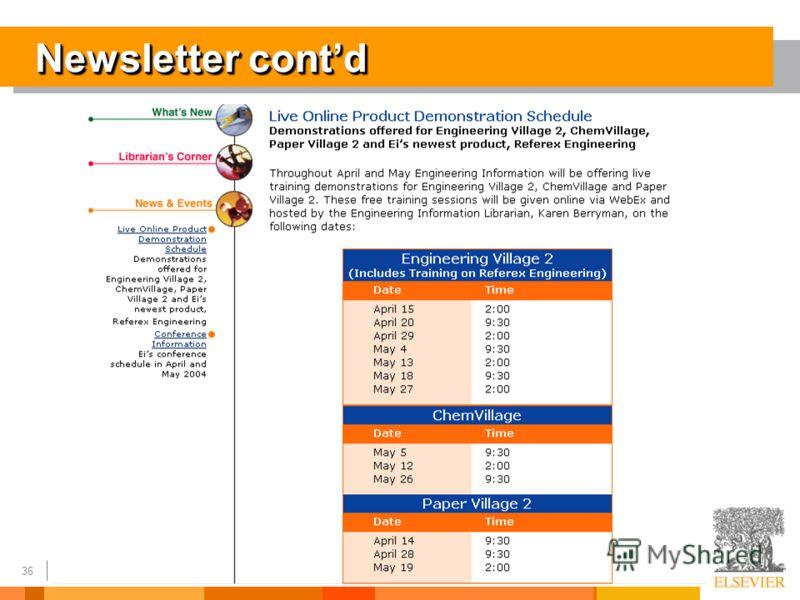 36 Newsletter contd