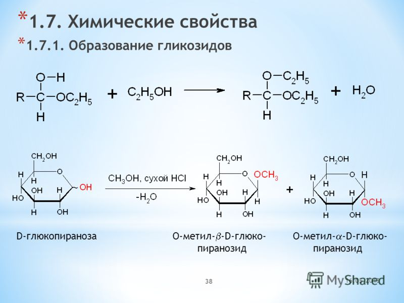 16.05.2013 38 * 1.7. Химические свойства * 1.7.1. Образование гликозидов D-глюкопираноза O-метил- -D-глюко- O-метил- -D-глюко- пиранозид пиранозид