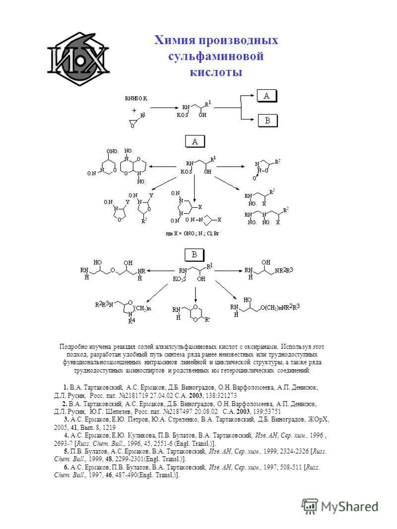 Химия производных сульфаминовой кислоты Подробно изучена реакция солей алкилсульфаминовых кислот с оксиранами. Используя этот подход, разработан удобный путь синтеза ряда ранее неизвестных или труднодоступных функциональнозамещенных нитраминов линейн