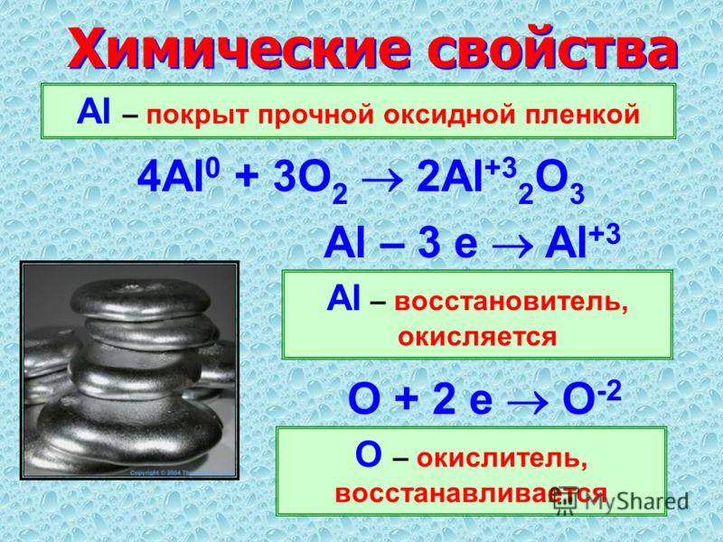 Химические свойства Al – покрыт прочной оксидной пленкой 4Al 0 + 3O 2 2Al +3 2 O 3 Al – восстановитель, окисляется Al – 3 е Al +3 О + 2 е О -2 О – окислитель, восстанавливается
