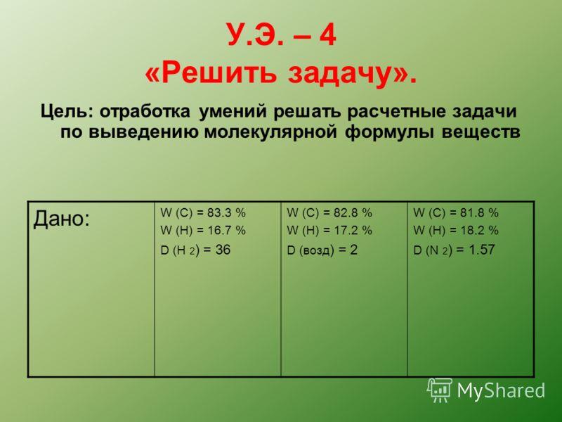 У.Э. – 4 «Решить задачу». Цель: отработка умений решать расчетные задачи по выведению молекулярной формулы веществ Дано: W (C) = 83.3 % W (H) = 16.7 % D (H 2 ) = 36 W (C) = 82.8 % W (H) = 17.2 % D (возд ) = 2 W (C) = 81.8 % W (H) = 18.2 % D (N 2 ) =