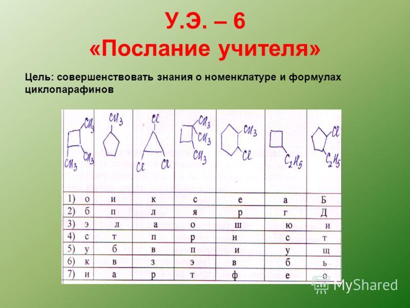 У.Э. – 6 «Послание учителя» Цель: совершенствовать знания о номенклатуре и формулах циклопарафинов