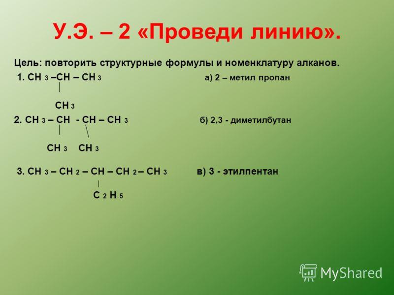 У.Э. – 2 «Проведи линию». Цель: повторить структурные формулы и номенклатуру алканов. 1. СH 3 –CH – CH 3 а) 2 – метил пропан CH 3 2. СH 3 – CH - CH – CH 3 б) 2,3 - диметилбутан CH 3 CH 3 3. CH 3 – CH 2 – CH – CH 2 – CH 3 в) 3 - этилпентан C 2 H 5