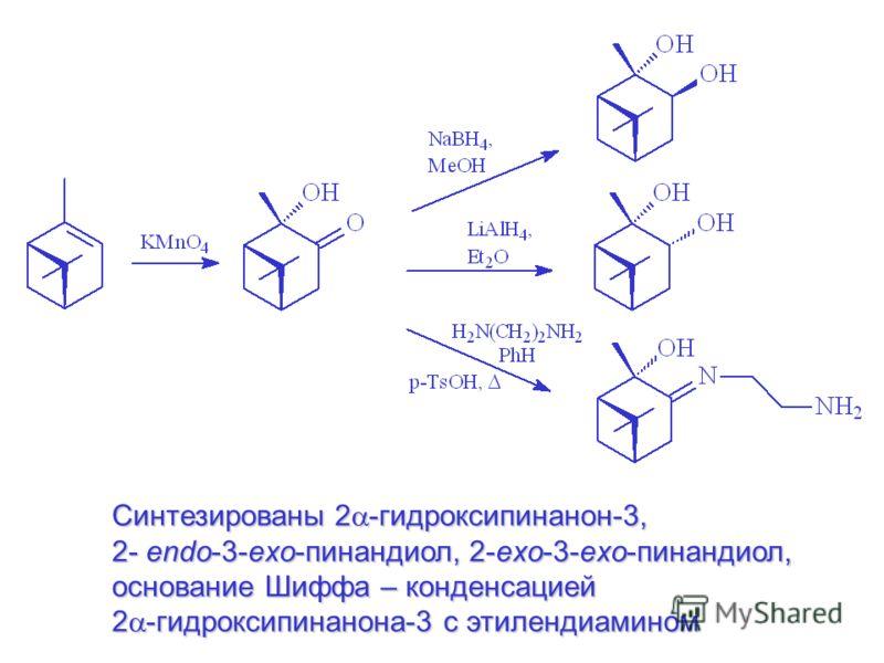 Синтезированы 2 -гидроксипинанон-3, 2- endo-3-exo-пинандиол, 2-exo-3-exo-пинандиол, основание Шиффа – конденсацией 2 -гидроксипинанона-3 с этилендиамином
