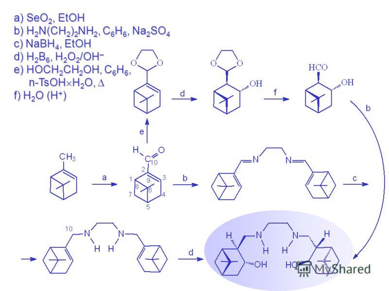 a) SeO 2, EtOH b) H 2 N(CH 2 ) 2 NH 2, C 6 H 6, Na 2 SO 4 c) NaBH 4, EtOH d) H 2 B 6, H 2 O 2 /OH – e) HOCH 2 CH 2 OH, C 6 H 6, n-TsOHґH 2 O, f) H 2 O (H + )