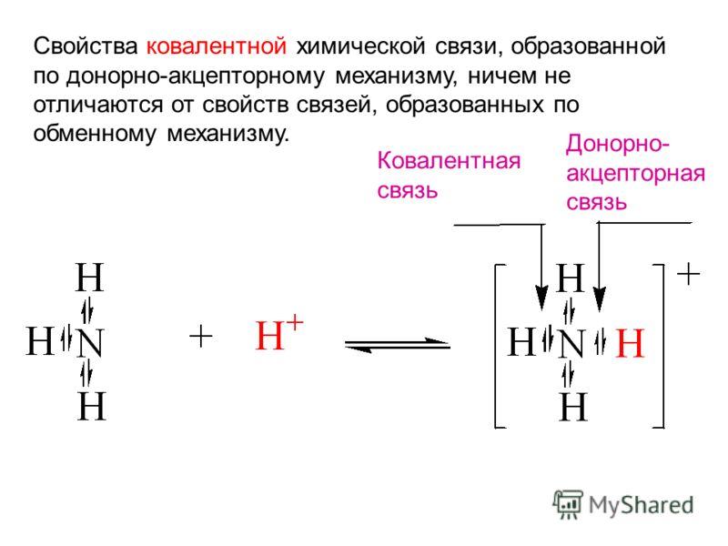 Свойства ковалентной химической связи, образованной по донорно-акцепторному механизму, ничем не отличаются от свойств связей, образованных по обменному механизму. Ковалентная связь Донорно- акцепторная связь