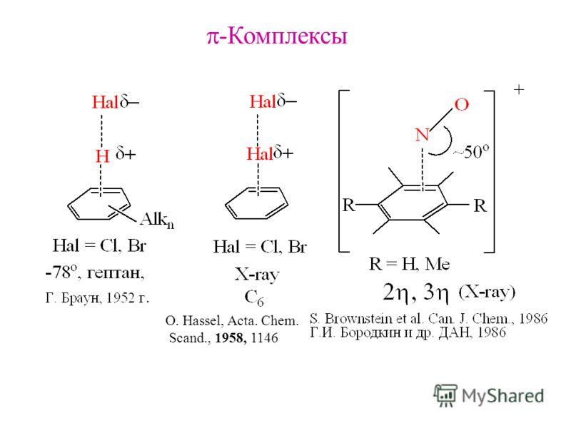 -Комплексы O. Hassel, Acta. Chem. Scand., 1958, 1146